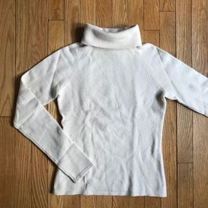 Aqua Ivory Cashmere Turtleneck Sweater
